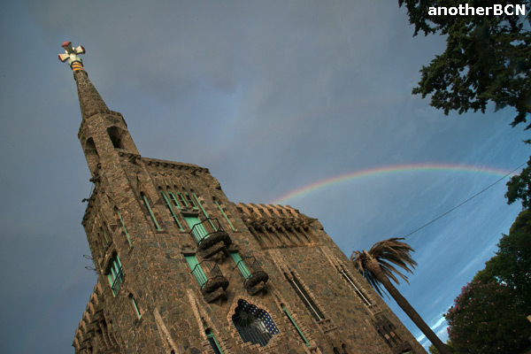 Rainbow over Gaudi's Bellesguard Tower