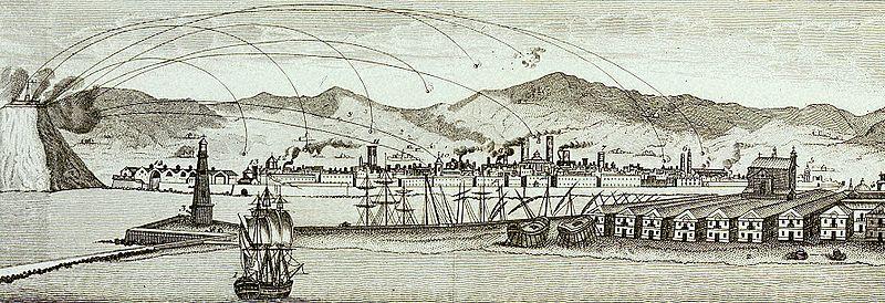 Bombardeos sobre Barcelona desde el Castillo de Montjuïc
