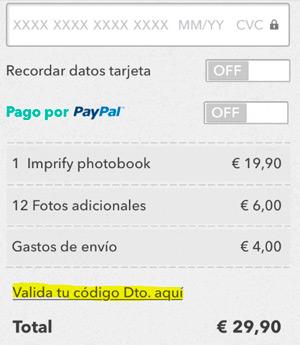 Imprify, método de pago álbum de fotos